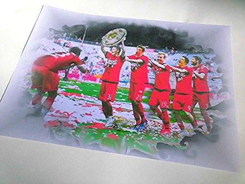 VERSCHIEDENE FC BAYERN-STARS MIT MEISTERSCHALE als Kunstdruck -direkt vom Künstler 30cm x 42cm