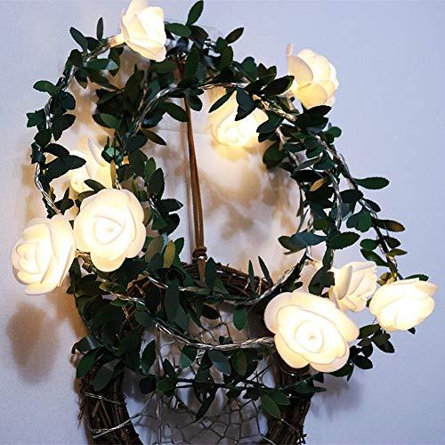 ZTHHS 6M 40Leds Rosas Flores Luces Cadena, Guirnalda de Luces Festivas al Aire Libre, para la Fiesta Cumpleaños la Fiesta en Casa la Boda Decoraciones Interior(Blanco cálido, 40 LED)