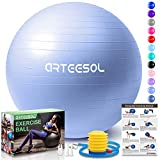 arteesol Gymnastikball, Balance Ball 45cm/55cm/65cm/75cm Yoga Ball mit Pumpe Anti-Burst Fitness Balance Ball für Core Strength (Himmelblau-Scrub, 65cm)