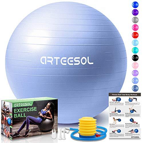 arteesol Ballon Fitness, Ballon d'exercice Balle de Fitness de 45cm/55cm/65cm/75cm/85cm Ballon d'équilibre de stabilité Antidérapant avec Pompe pour la solidité du Noyau (Bleu Ciel, 45cm)