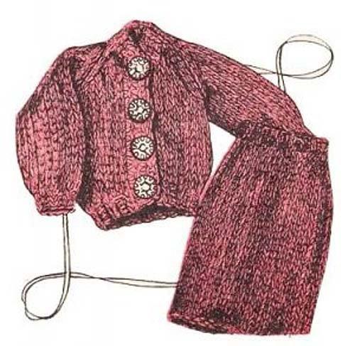 Fashion Doll Ensemble Barbie Outfit Knitting Pattern Vintage Knit EBook Download Needlecrafts...