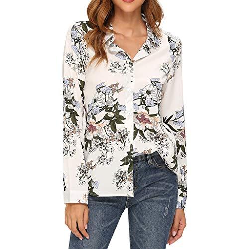 Geilisungren Camisas de Mujer Blusa de Manga Larga Moda para Mujer Camiseta de Gasa Irregular Oficina SeñOras Blusa Tops con Planta ImpresióN