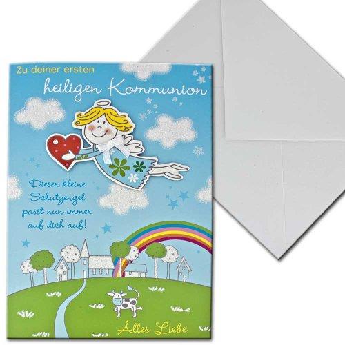 Kaart communiekaart communie engel regenboog vier seizoenen briefverpakking blauw groen