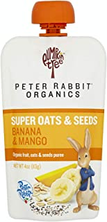 Peter Rabbit Organics Super Oats & Seeds, Banana & Mango Puree Squeeze Pouch, 4 oz (Pack of 10)