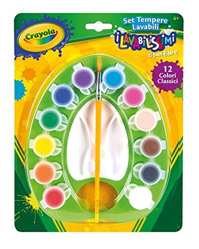 Crayola i Lavabilissimi - Set di Tempere Lavabili con Pennello, 12 Colori Assortiti, Attività Creativa per Bambini, 54-1066