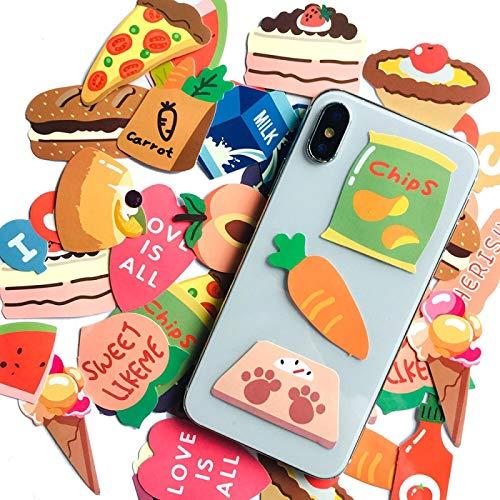 YMSD 40pcs lindo mini etiqueta engomada coreana comida pizza patata chip etiqueta mano cuenta agua taza diario teléfono caja pvc etiqueta