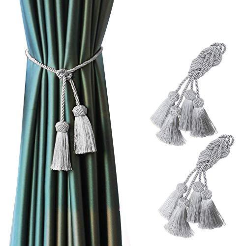 BEL AVENIR Raffhalter für Vorhänge, handgefertigt, dekorative Raffhalter mit doppelköpfigen Quasten, silberfarben, 4 Stück
