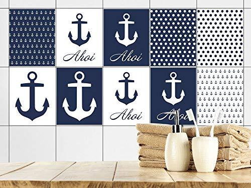 GRAZDesign Fliesenaufkleber Bad 20x25cm Anker maritim Blau Weiß, Fliesensticker Fliesen zum Aufkleben Klebefolie für Badfliesen/Set 10 Stück