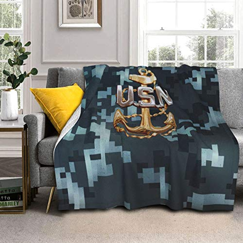 Anchor Senior Chief Petty Officer United States Sherpa Fleece Blanket Warm Fluffy Throw Blanket for Bed Couch Chair Living Room