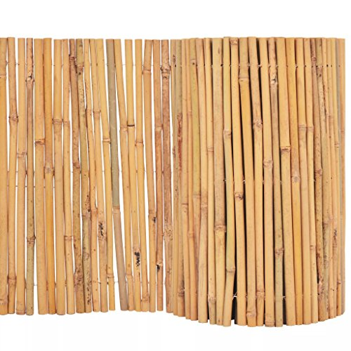 yorten Gartenzaun Bambuszaun Runder Bambus Dekorativer Gartenabgrenzung Gartendekor Zaun 500 x 30 cm (L x H) Natur