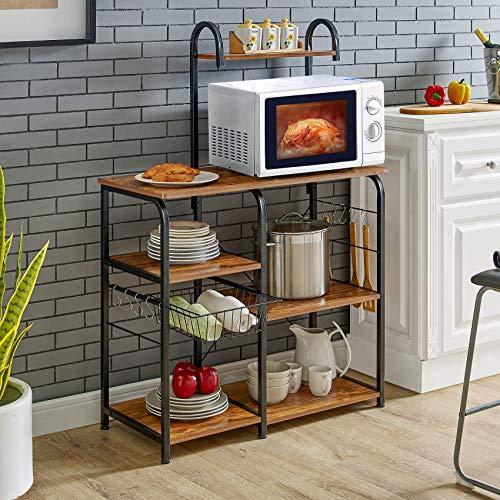 Mr IRONSTONE Vintage Kitchen Baker's Rack Utility Storage Shelf 35.5' Microwave Stand 3-Tier+4-Tier Shelf for Spice Rack Organizer Workstation with 10 Hooks