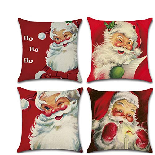 PPTS Christmas series hand-painted Santa Claus theme linen pillowcase