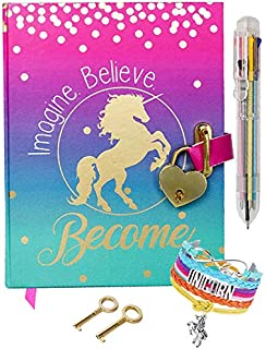 Diary with Lock for Girls - Unicorn Journal with Upgraded Lock and Keys, Notebook Pages for Secret Writing , Blank Pages for Drawing, Bracelet, Multicolor Pen and Bookmark Included