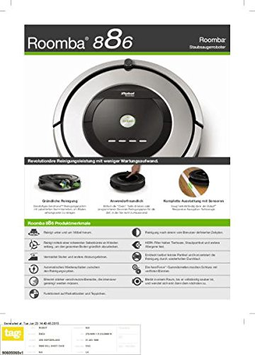 iRobot Roomba 886Staubsaugerroboter (beutellos, für Teppiche, Laminat, Linoleum, Parkett und Holzböden) schwarz/grau - 4