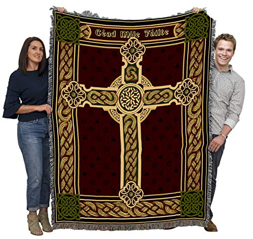 Pure Country Weavers A Hundred Thousand Welcomes - Cead Mile Failte - Celtic Cross Blanket Throw Woven from Cotton - Made in The USA (72x54)