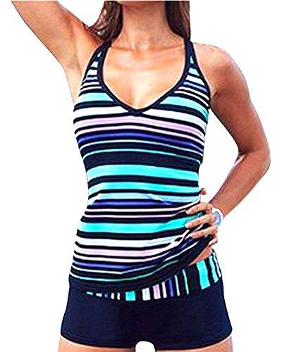 Tankini Femme Deux Pieces À Rayure Multicolore Col V Maillot De Bain Shorty Sport Grande Taille Haute Cintrée Bleu 4XL