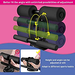 SGODDE Sit Up Bar with Resistance Bands, Sit Up Bar for Floor Sit-up Assistant Device with Knee Pads, Portable Adjustable Self-Suction Abs Workout Equipment for Core Strength Muscle Training Black