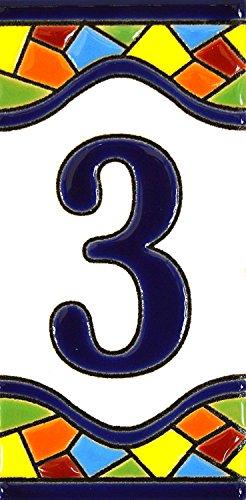 Hausnummer. Schilder mit Zahlen und Nummern auf Keramikkachel. Handgemalte Kordeltechnik fuer Schilder mit Namen, Adressen und Wegweisern. Design MOSAICO MEDIANO 10,9cm x 5,4 cm (Nummer DREI