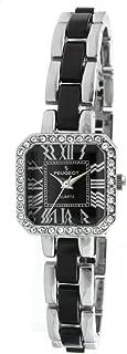 ساعة مربعة مرصعة بالكريستال للنساء مع سوار من الاكريليك لينك