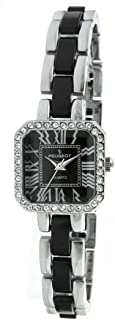 Women Crystal Accented Square Watch with Acrylic Link Bracelet