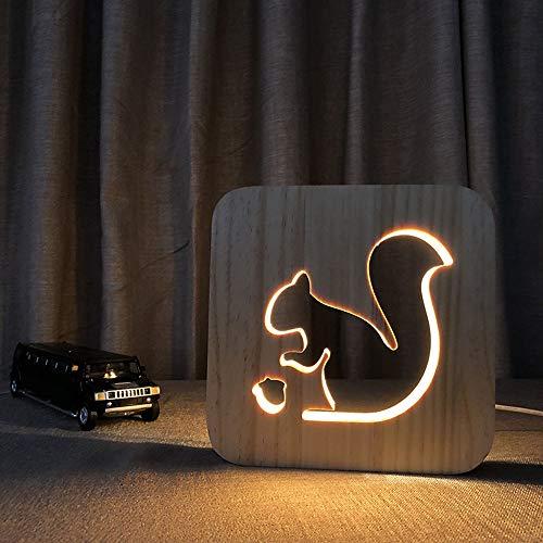 boaber LED De Luz De La Noche Creativa 3D Hueco Ardilla De Madera USB Tabla Decorativa Lámpara del Dormitorio De Los Niños Cumpleaños De Habitaciones 19 * 19cm Turística