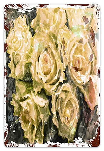 PATINISA Metal Tin Sign,Hand Vintage Watercolor with Roses Yellow Victorian Aged Ancient Antique Aquarelle Retro Plaque Poster Paintings Hanging for Home Bedroom Kitchen Bar Wall Decoration 8x12inches