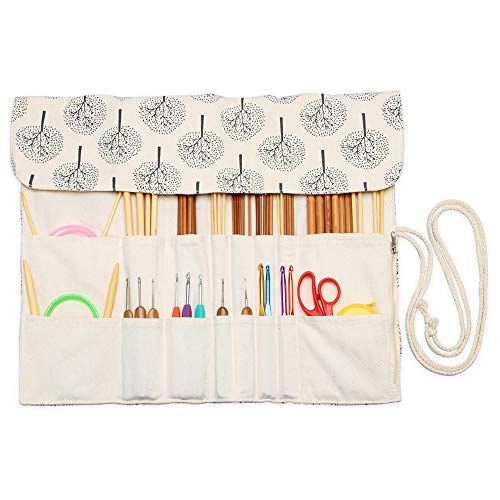 Teamoy Knitting Needles Holder Case(up to 14 Inches), Rolling Organizer for Straight and Circular Knitting Needles, Crochet Hooks and Accessories, Tree - NO Accessories Included