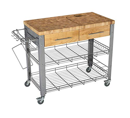 CHRIS & CHRIS JET1221 Rolling Kitchen Island - Food Prep Table - Durable Cutting Surface, Juice Groove and Collection Pan - 2 Storage Drawers, Condiment Rack and 2 Wire Shelves, Natural