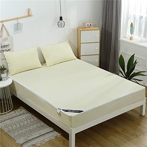 ABUKJM Coprimaterasso impermeabile, tessuto a righe, 6 lati per materasso antiacaro, lenzuolo impermeabile (colore crema, 160 x 200 x 20 cm)