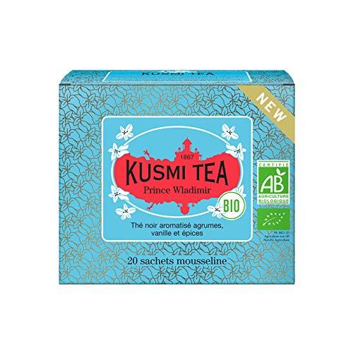 Kusmi Tea – Prinz Wladimir BIO – Bio Schwarzer Tee, aromatisiert - Zitrusfrüchte, Vanille und Gewürze - Box mit 20 Musselin Teebeuteln
