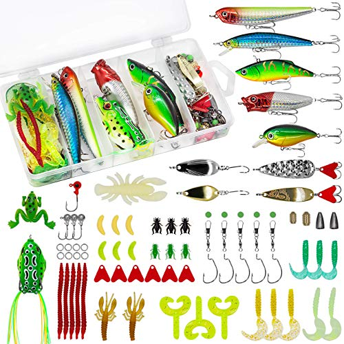 79PCS Fishing Lures for Freshwater Saltwater, Bass Trout Lures Including Spoon, Topwater Lures, Crank Bait, Soft Plastic Worms, Sinker Weights, Jigs for Bass, Trout, Salmo