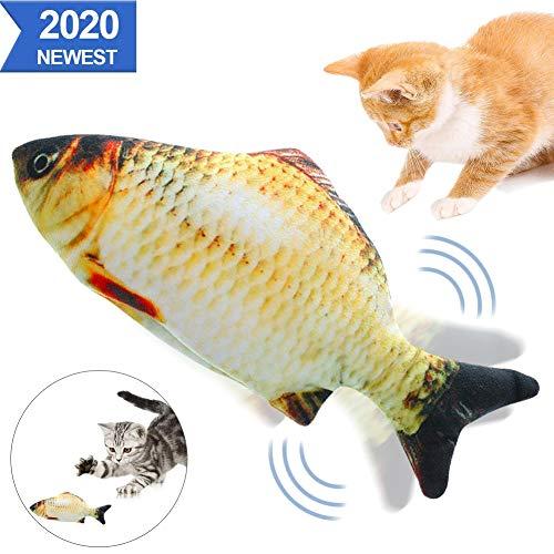 Sunshine smile elektrische Fische Katze,katzenminze Fisch Spielzeug,katzenspielzeug Fisch elektrisch beweglich,Simulation Fisch,elektrische Fische plüsch,Katze interaktive Spielzeug (E)