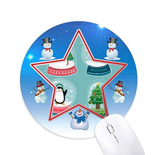 Frohe Weihnachten Schneemann Geschenkbaum Schneemann Maus Pad Round Star Mat