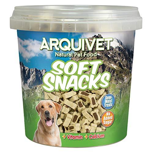 Arquivet Soft Snacks Naturales para Perro en Forma de huesitos - Mix de sabores Cordero y arroz - Chuches para Perro - Golosinas para Perro - Premios y recompensas para Perro - 800 g
