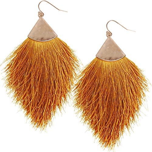 Humble Chic Fringe Tassel Statement Dangle Earrings - Lightweight Long Feather Drops, Mustard, Dark Yellow, Brown, Gold-Tone