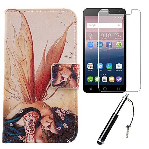 Lankashi 3in1 Set Wing Girl PU Flip Leder Tasche Für Alcatel One Touch Pop 4 Plus 5.5