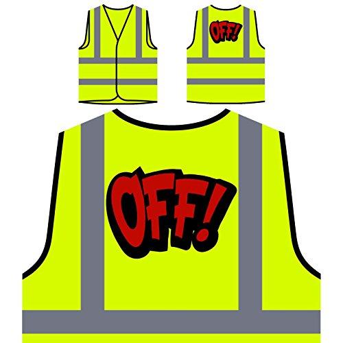 Off Comic Vintage Funny novedad Chaqueta de seguridad amarillo personalizado de alta visibilidad d709v