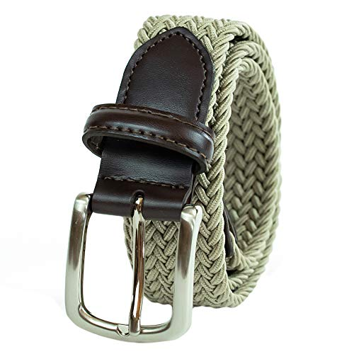 Dockers Men's Big Boys' Braided Elastic-Web Stretch Belt,Khaki,