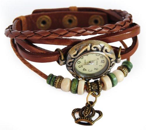 axy Lederarmbanduhr Serie 1 LEDAU1! Damen Armband Leather Bracelet Uhr Armreif Armbanduhr (Braun)