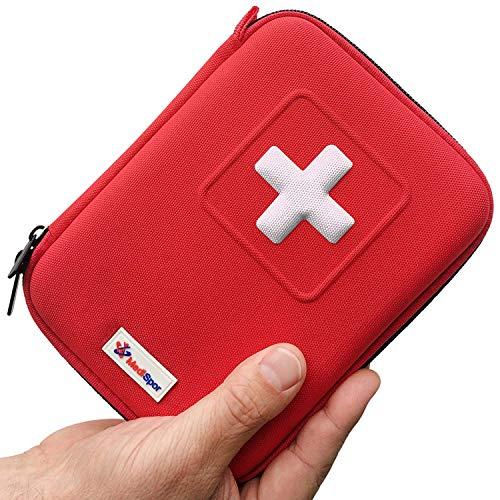 Botiquín de primeros auxilios de 100 piezas MediSpor, estuche semirrígido (rojo)
