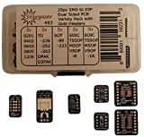 Stargazer 25 Piece Dual Sided SMD to DIP Variety Pack with 40 Fitted Gold Plated Headers [SOIC/TSSOP-8/16, DPAK, D2PAK, SOT-23, SC-59, TO-236, TO-252, TO-263, SOT-89, SOT-223, 0405, 0603, 0805,1206]