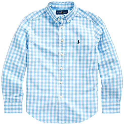 Polo Ralph Lauren Boys Plaid Cotton Poplin Button Down Shirt (XL, CheckeredBlue)