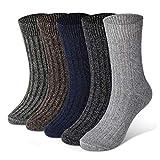 Diravo 5 Pairs Mens Warm Wool Socks Thick Winter Thermal Stripe Wool Crew Socks
