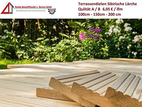 6,05€/lfm Terrassendiele sibirische Lärche Massivholz Gartenholz Terrassenholz Naturholzdielen Massivdiele (fein, 150)