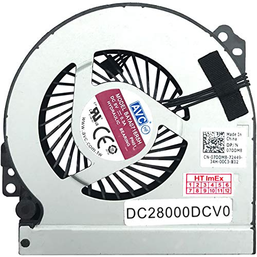 Fan Cooler Compatible with Dell Precision M6800, Dell P/N: 07DDM8, Model: KSB0605HC-DA03, P/N: DC28000DCV0, P/N: DC28000DCDL