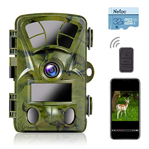 Ctronics Trail Camera WiFi 4K - 20MP Wildlife Game Camera Built-in WiFi with Night Vision Motion Activated Waterproof for Deer Hunting Outdoor Monitoring(32GB SD Card Included)