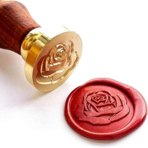 greatdaily Weihnachten Wachs-Siegel-Stempel Kit, Palisander Griff Wachs-Siegel-Stempel Rose Blumen-Stamping, Hochzeit Wachs-Siegel-Stempel & Birthday Parties