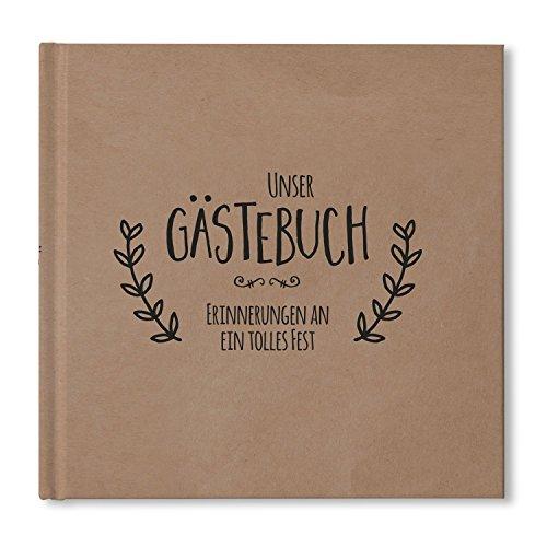 bigdaygraphix Gästebuch für Hochzeiten und Feste quadratisch 21 x 21cm 104 weiße Seiten Hardcover...