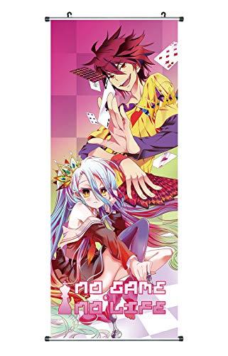 CoolChange Großes No Game No Life Rollbild | Kakemono aus Stoff | Poster 100x40cm | Motiv: Shiro & Sora