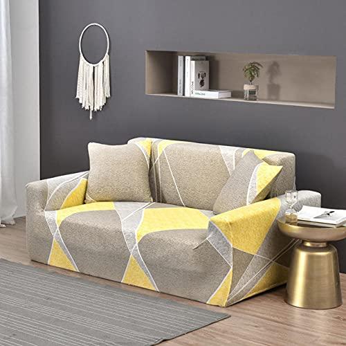 Tryckt sofföverdrag Stretch Fit Anti-halkskydd mot soffa Gul-grå modell på ljus bakgrund 3-Seat 190-230cm